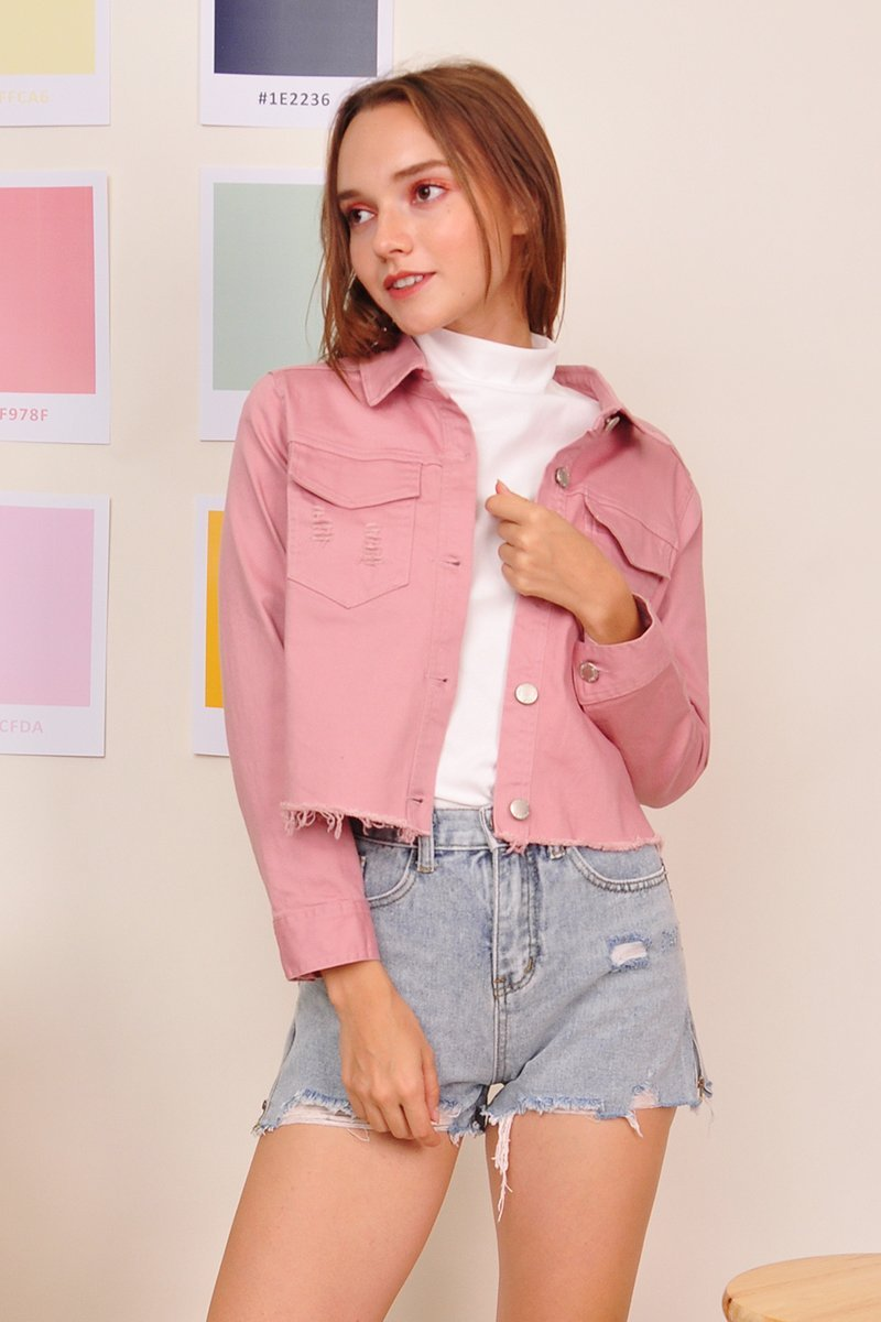 Ksenia Distressed Denim Jacket Blush