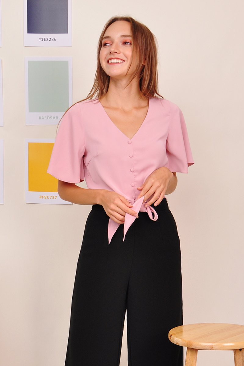 Mishenka Front-Tie Top Blush