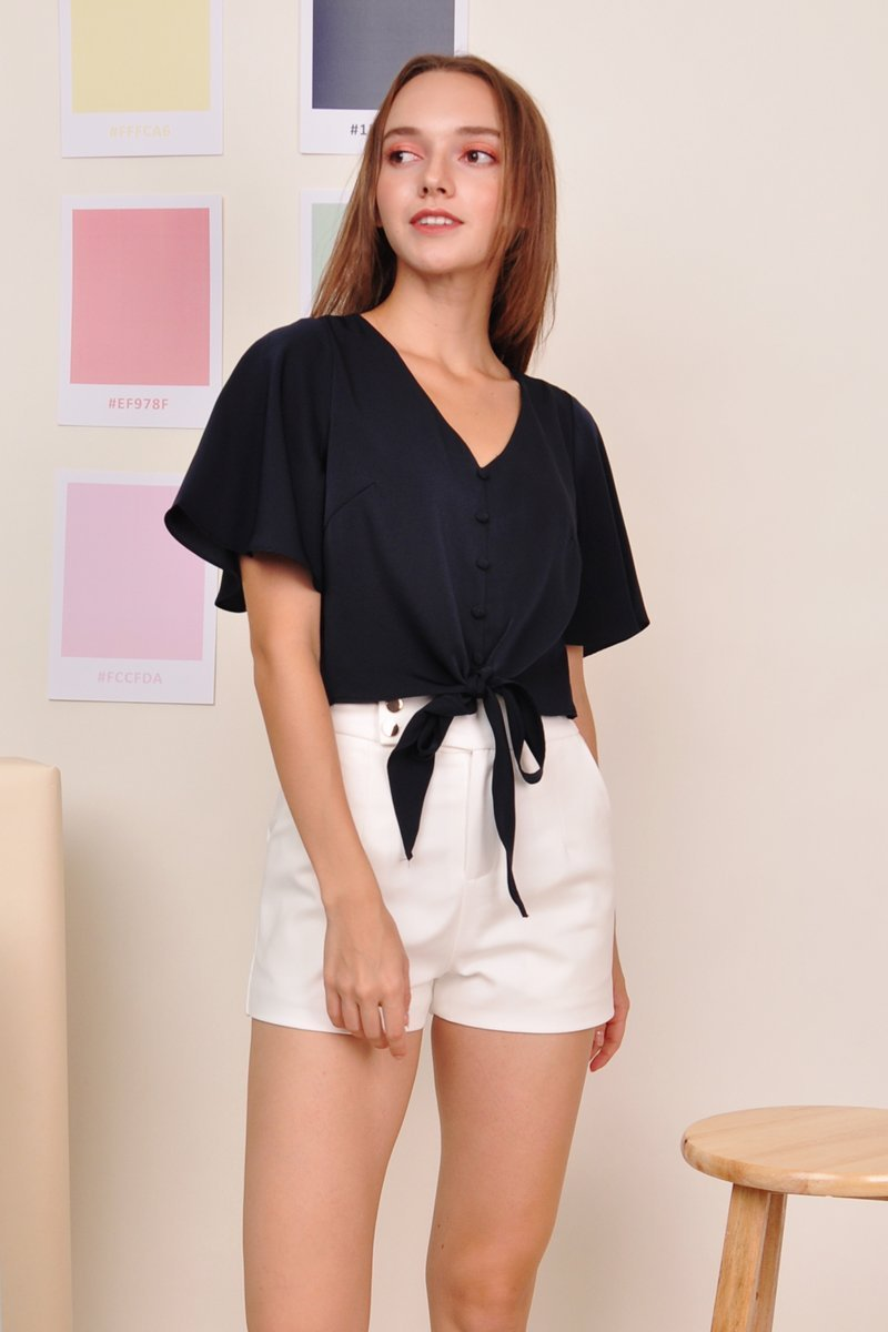 Mishenka Front-Tie Top Midnight