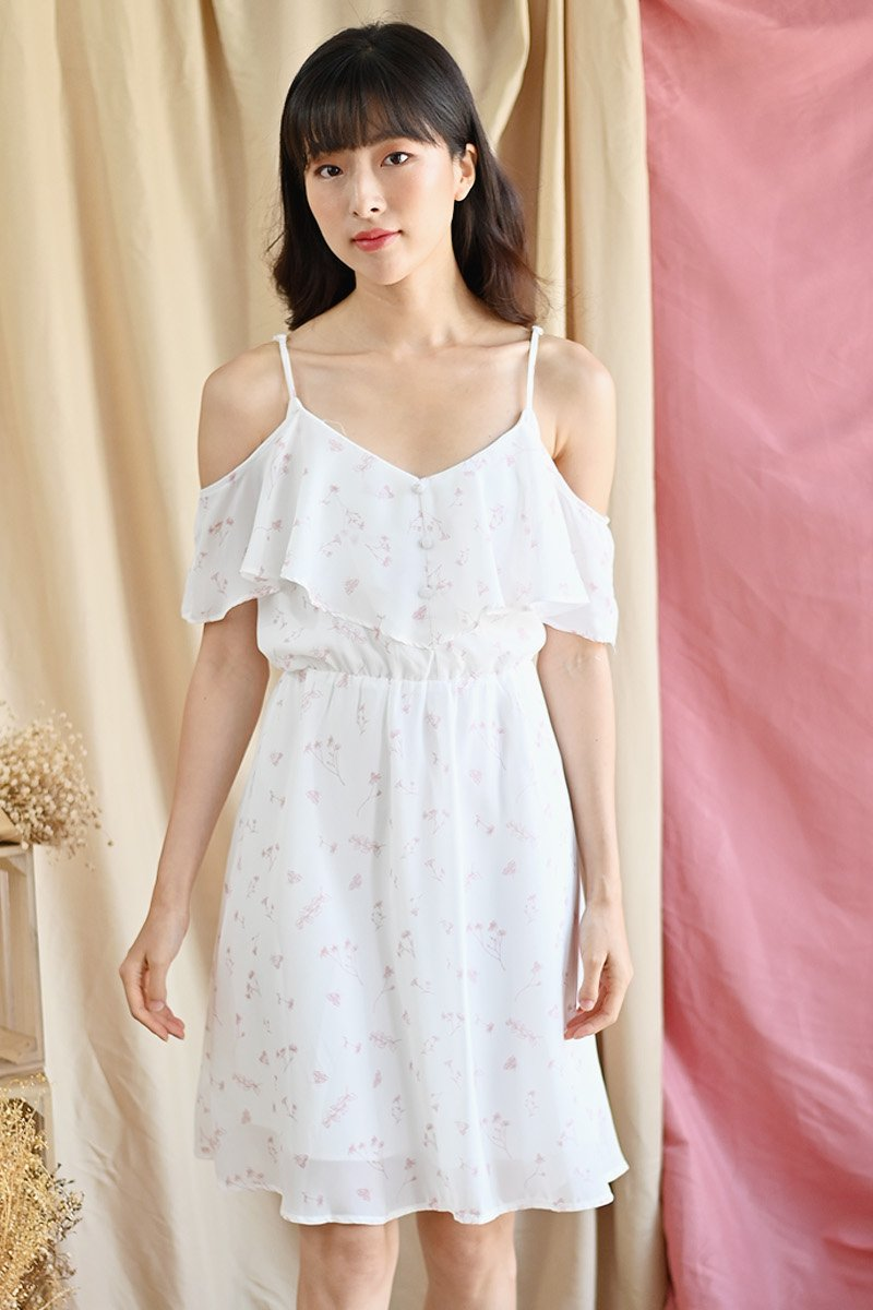 Nephele Floral Cold-Shoulder Dress Ivory