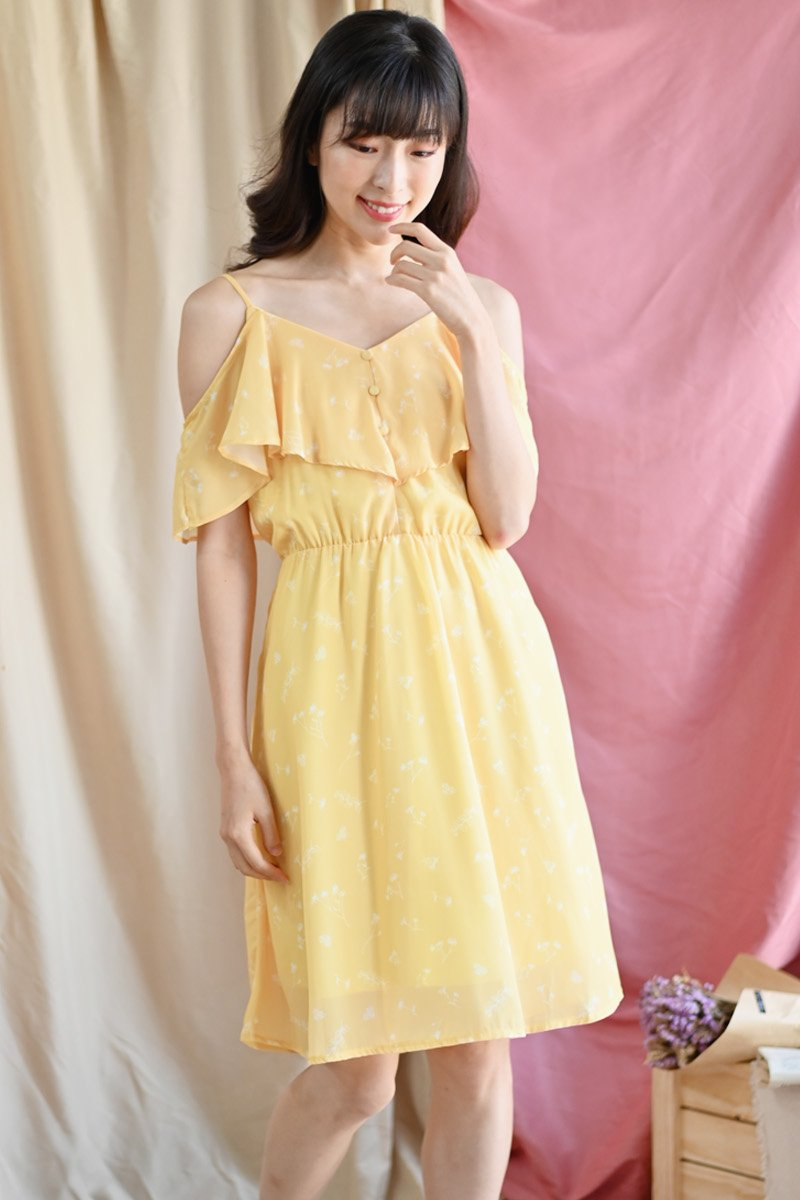 Nephele Floral Cold-Shoulder Dress Daffodil