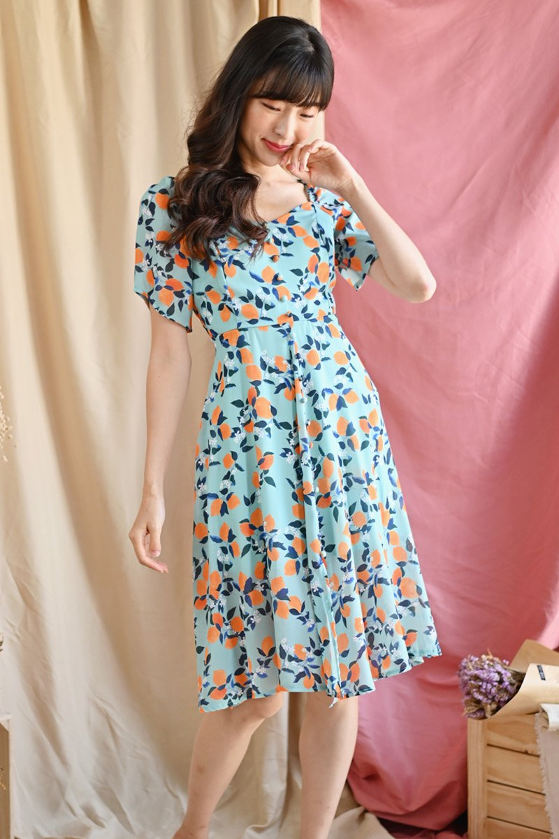 Alsie Citrus Puffed Sleeve Dress Mint