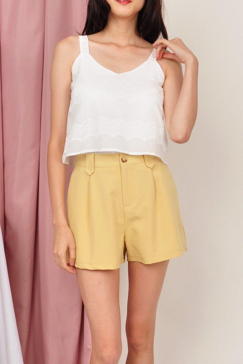 Halston Classic Pleated Shorts Honey