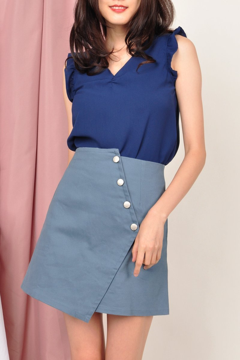 Izbel Denim Overlap Skirt Steel Blue