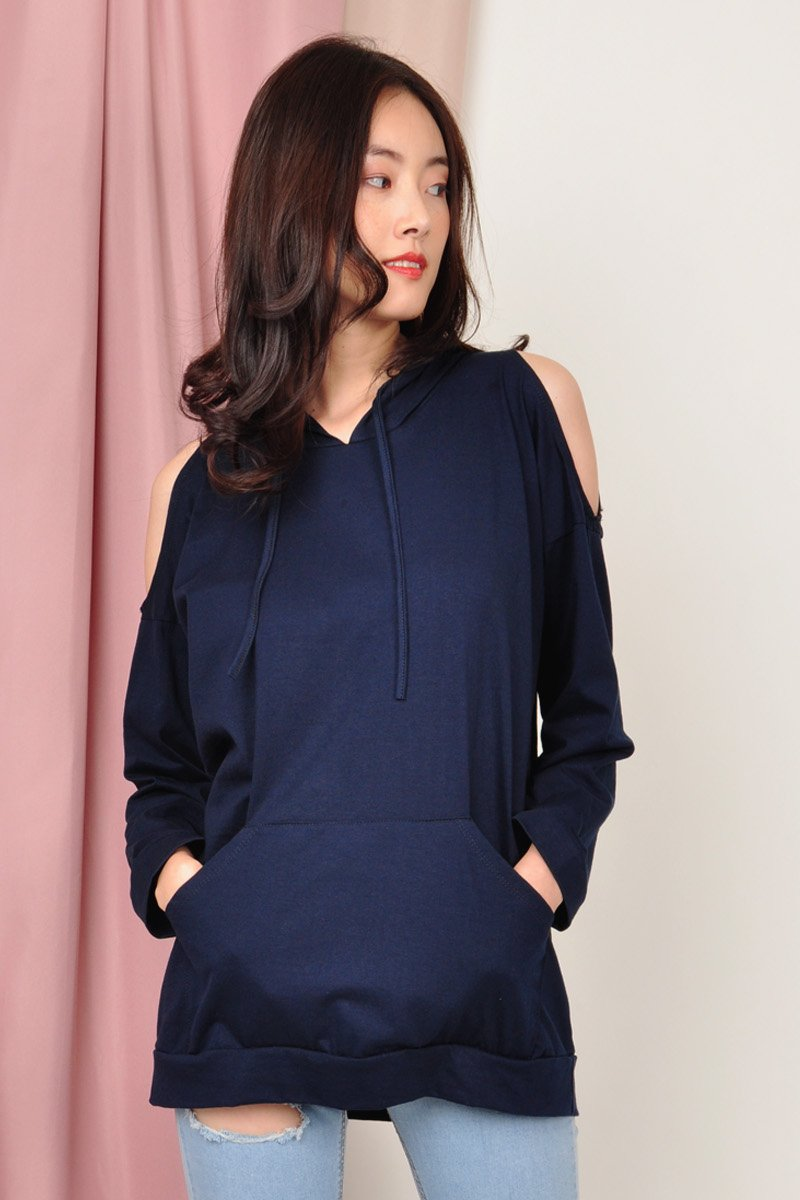 Fanya Cold-Shoulder Hoodie Midnight