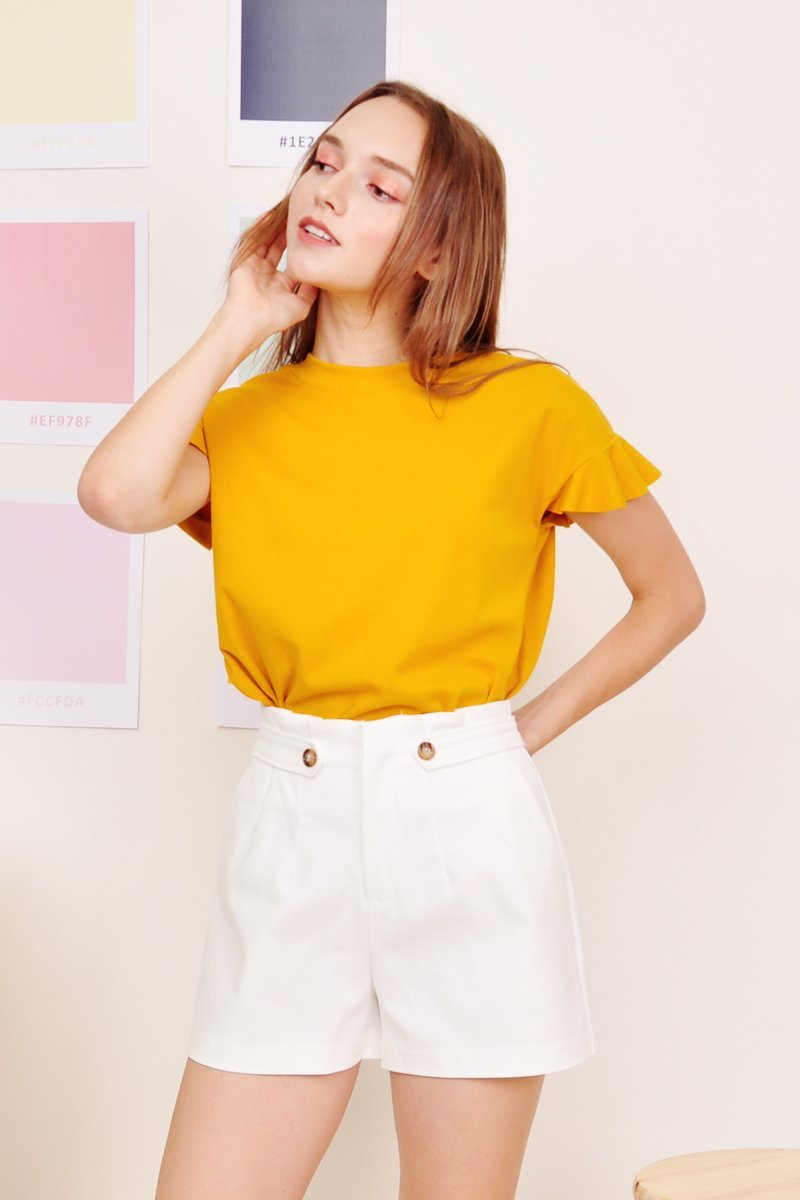 Kiska Ruffle Sleeves Top Mustard