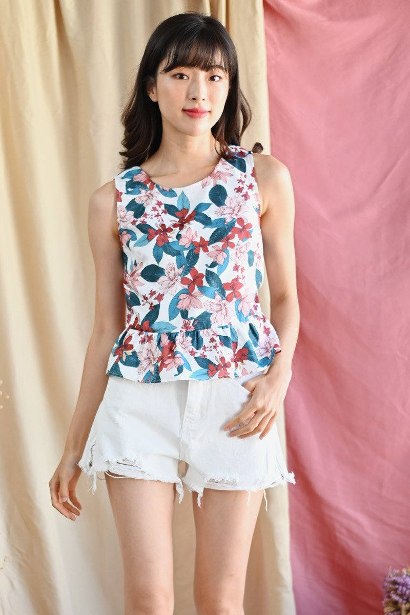 Eimile Floral Ruffle Hem Top Ivory