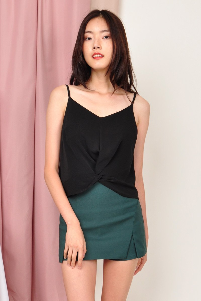 Thana Front Knot Cami Top Black