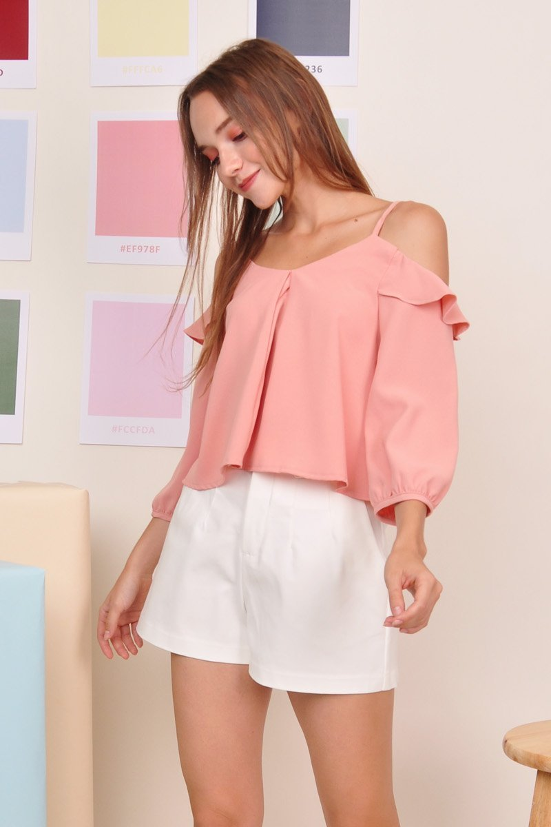 Clementine Cold-Shoulder Top Blush
