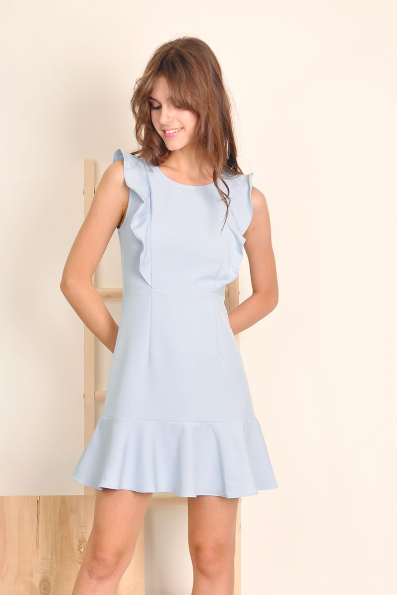 Brona Ruffle Trim Dress Sky