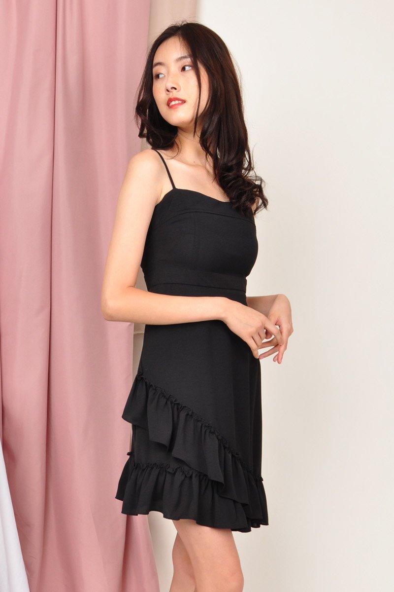 Gelsey Ruffle Hem Dress Black
