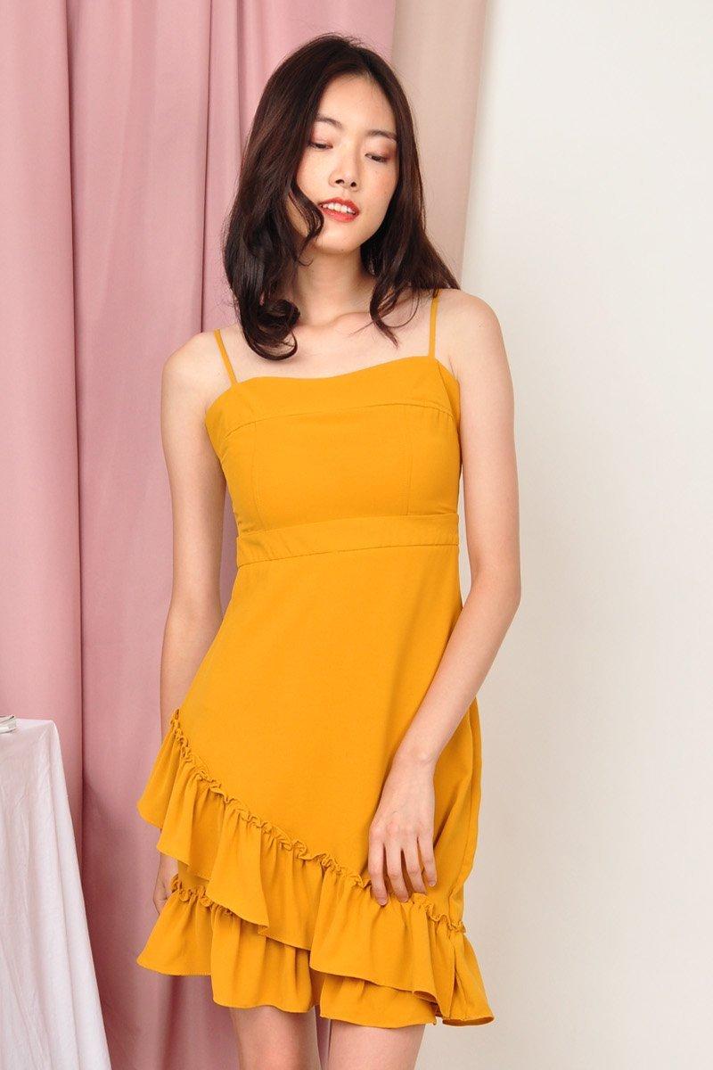 Gelsey Ruffle Hem Dress Mustard