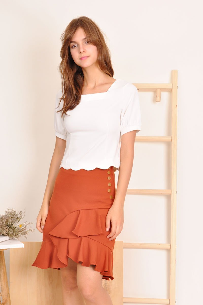 Sophy Ruffle Midi Swing Skirt Sienna