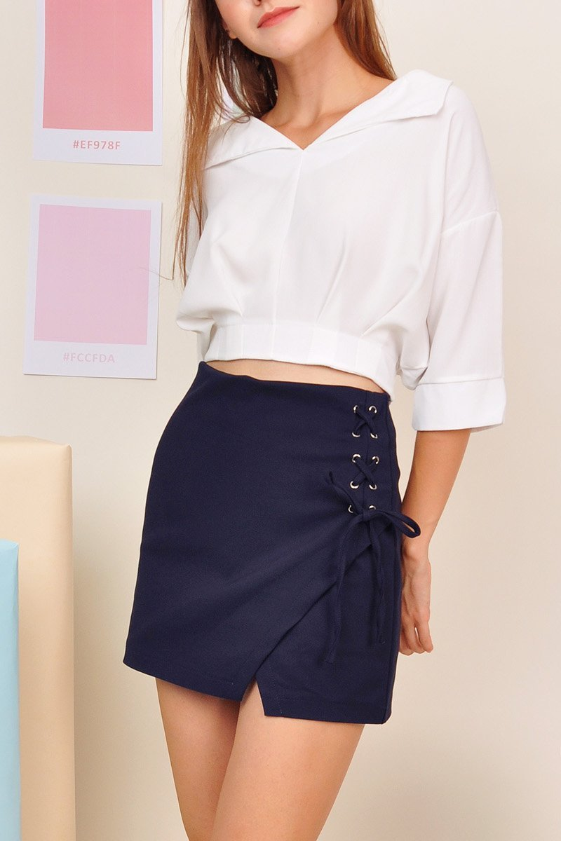 Izusa Lace-Up Wrap Skirt Midnight