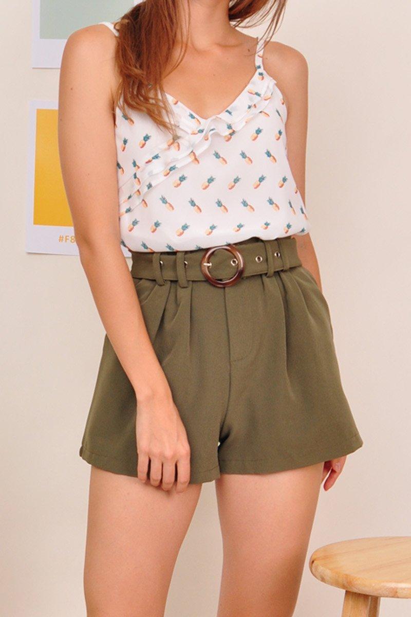 Shyanne Belted Paperbag Shorts Olive