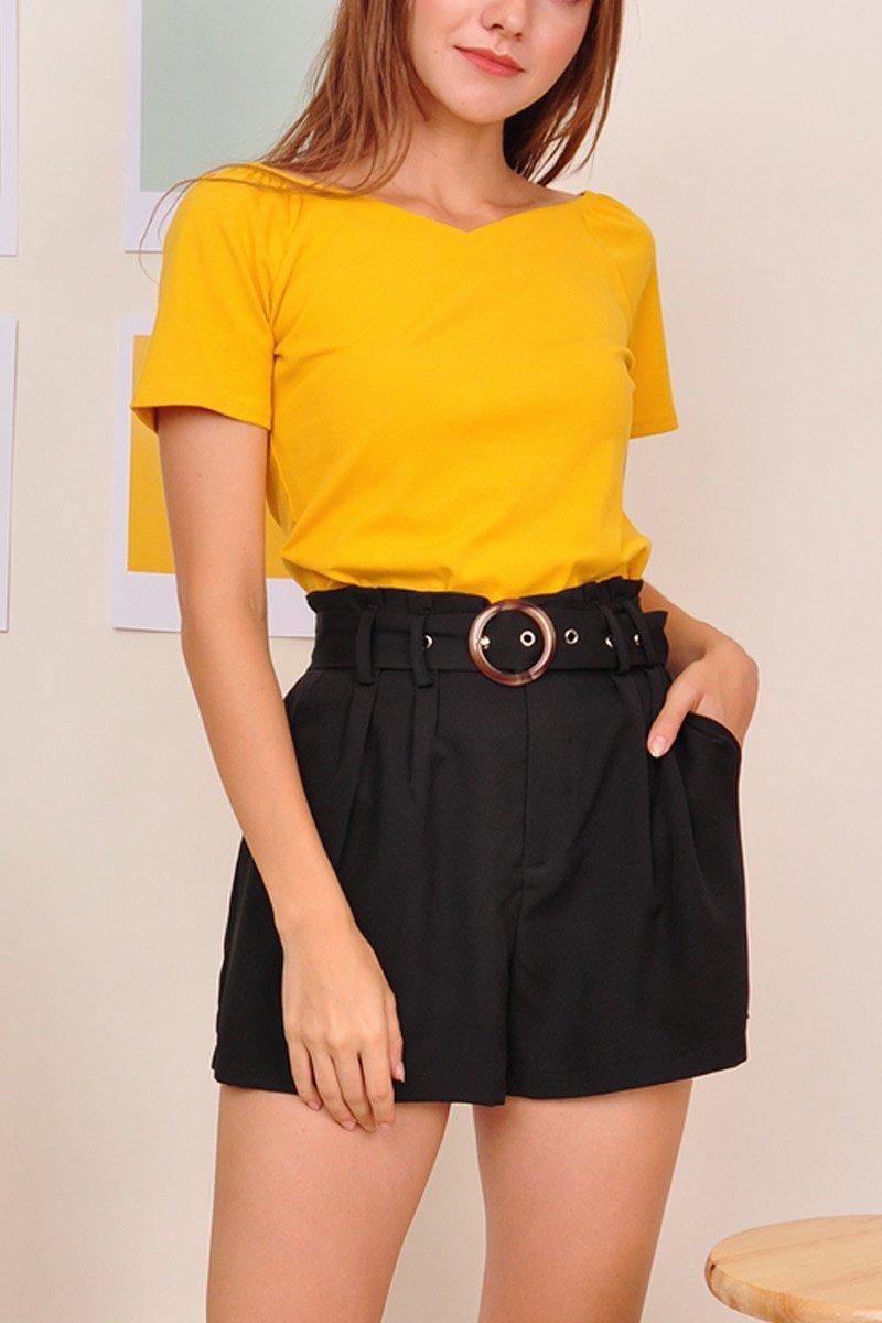 Shyanne Belted Paperbag Shorts Black