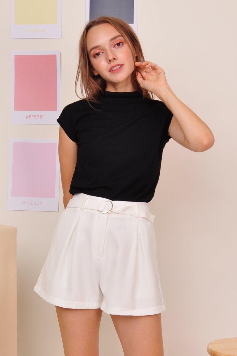 Jasia Pleated High Waist Shorts Ivory