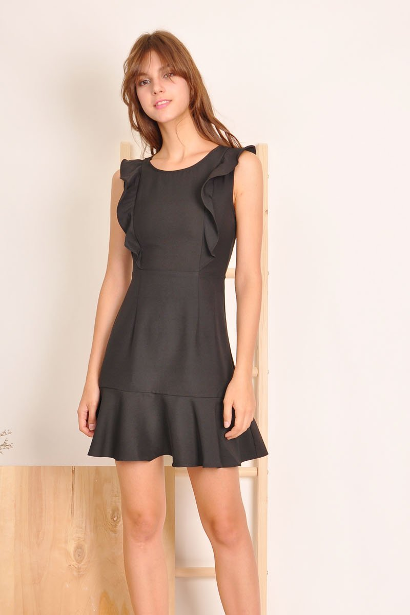 Brona Ruffle Trim Dress Black