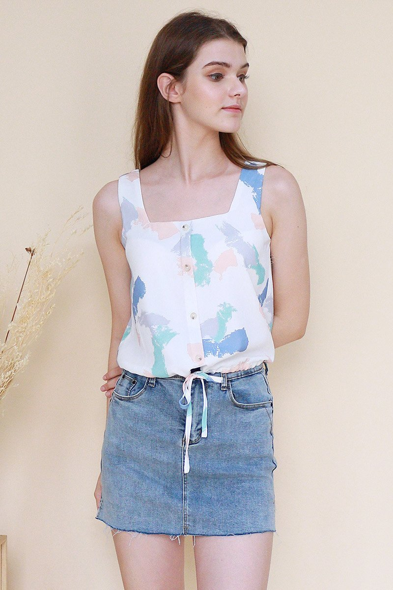 Ansley Drawstring Top Ivory