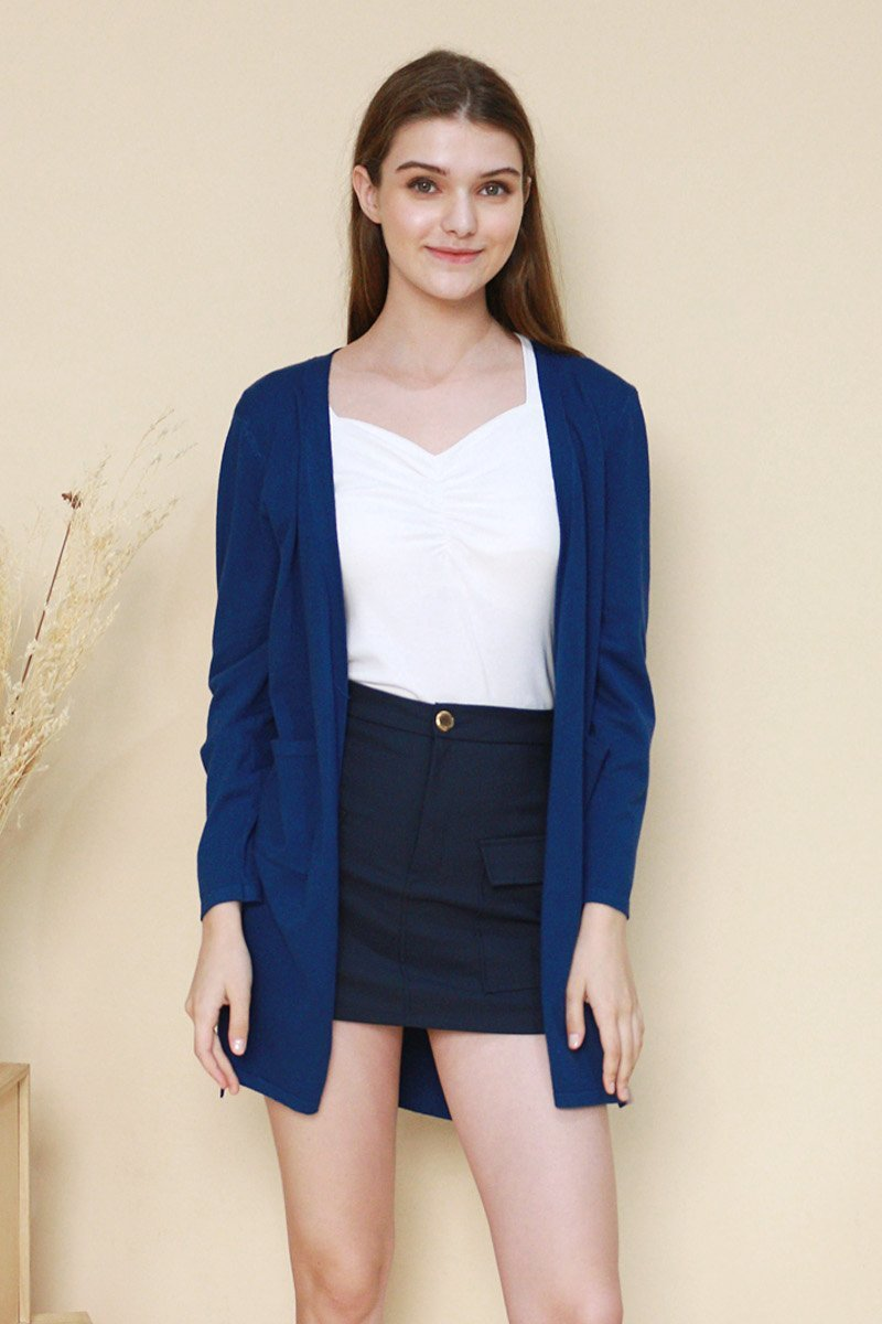 Genoa Long Knit Cardigan Cobalt