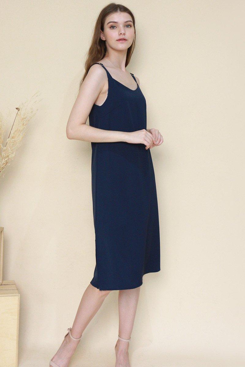 Carlin Buckle Strap Slip Dress Midnight