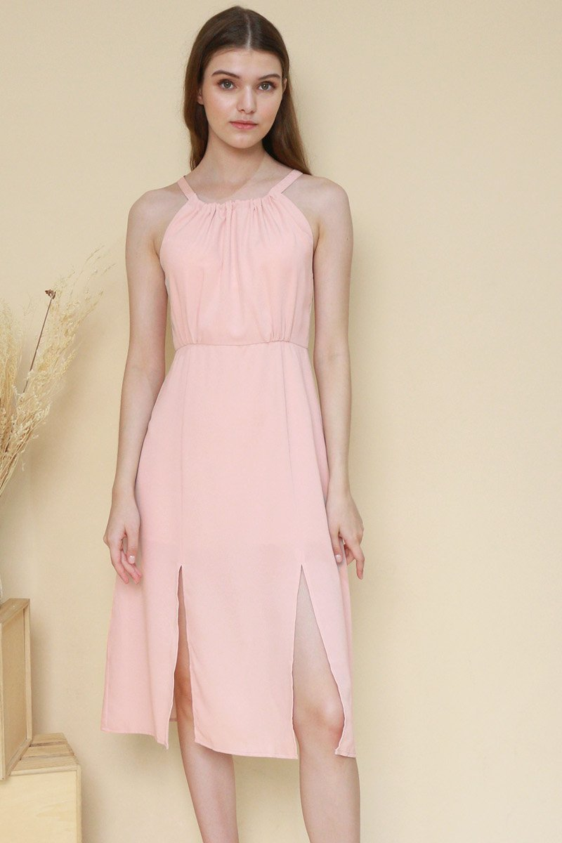 Fania Halter Neck Midi Dress Blush