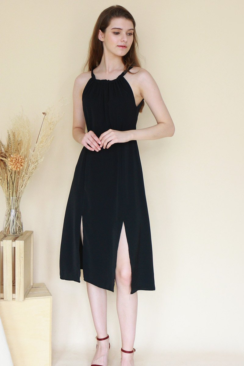 Fania Halter Neck Midi Dress Black