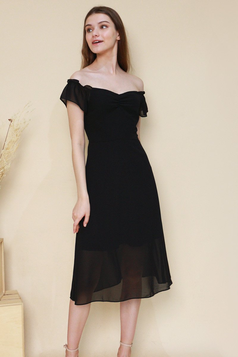 Regan Off-Shoulder Midi Dress Black