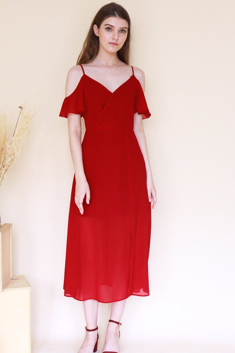 Cavette Cold-Shoulder Maxi Dress Wine