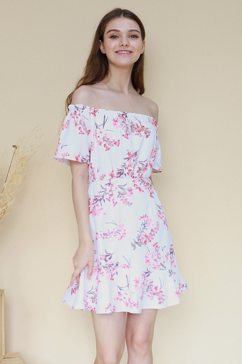 Gesine Floral Off-Shoulder Swing Dress Ivory