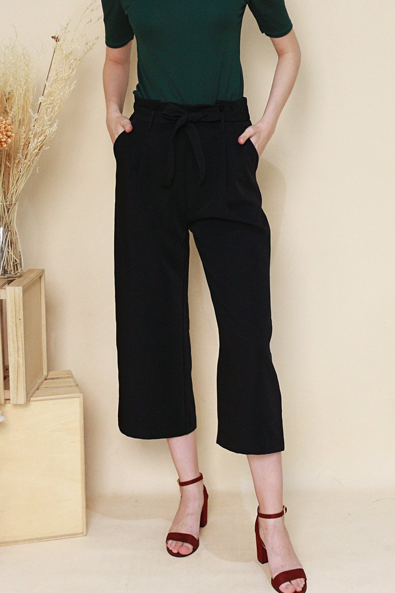 Alva Front Tie Pleated Pants Black