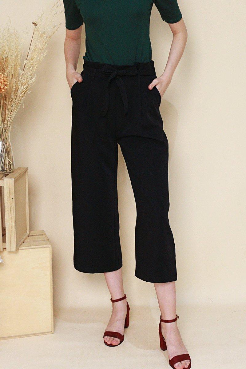Alva Front Tie Pleated Pants Black