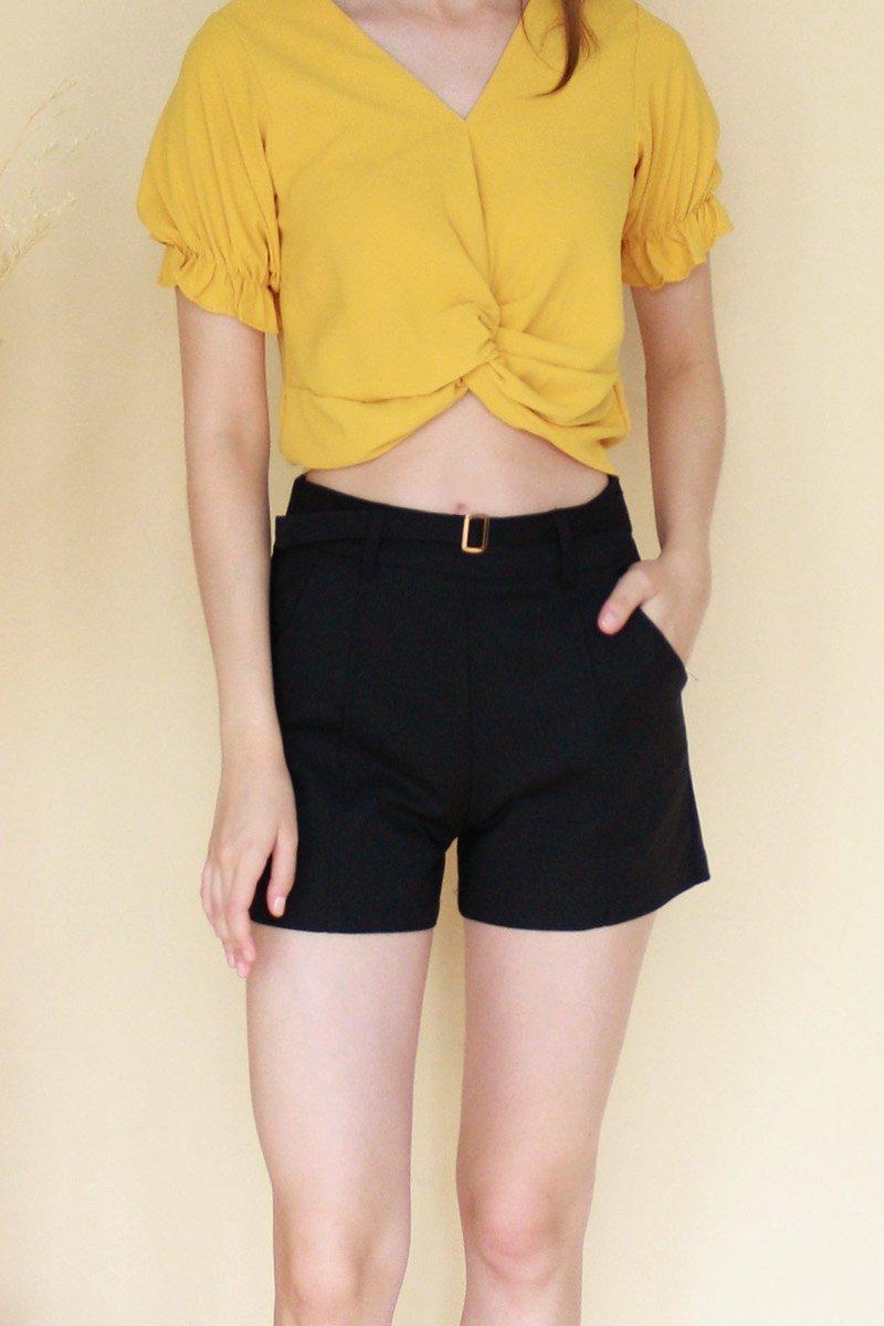 Neile Buckled Pintuck Shorts Black