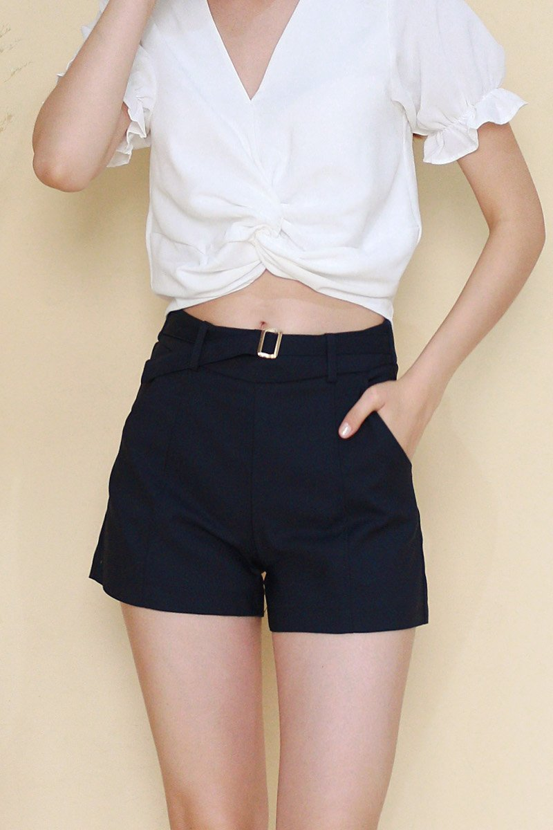 Neile Buckled Pintuck Shorts Midnight