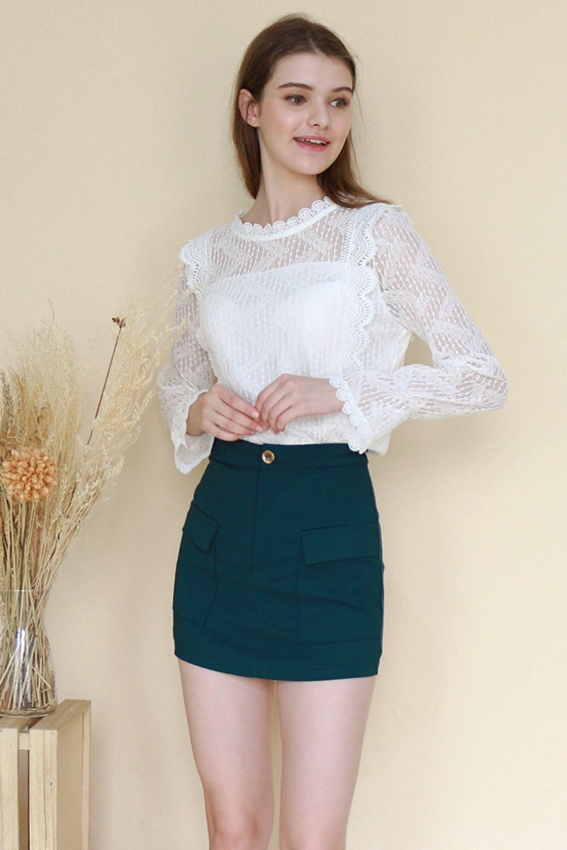 Averil Front Pocket Skirt Forest