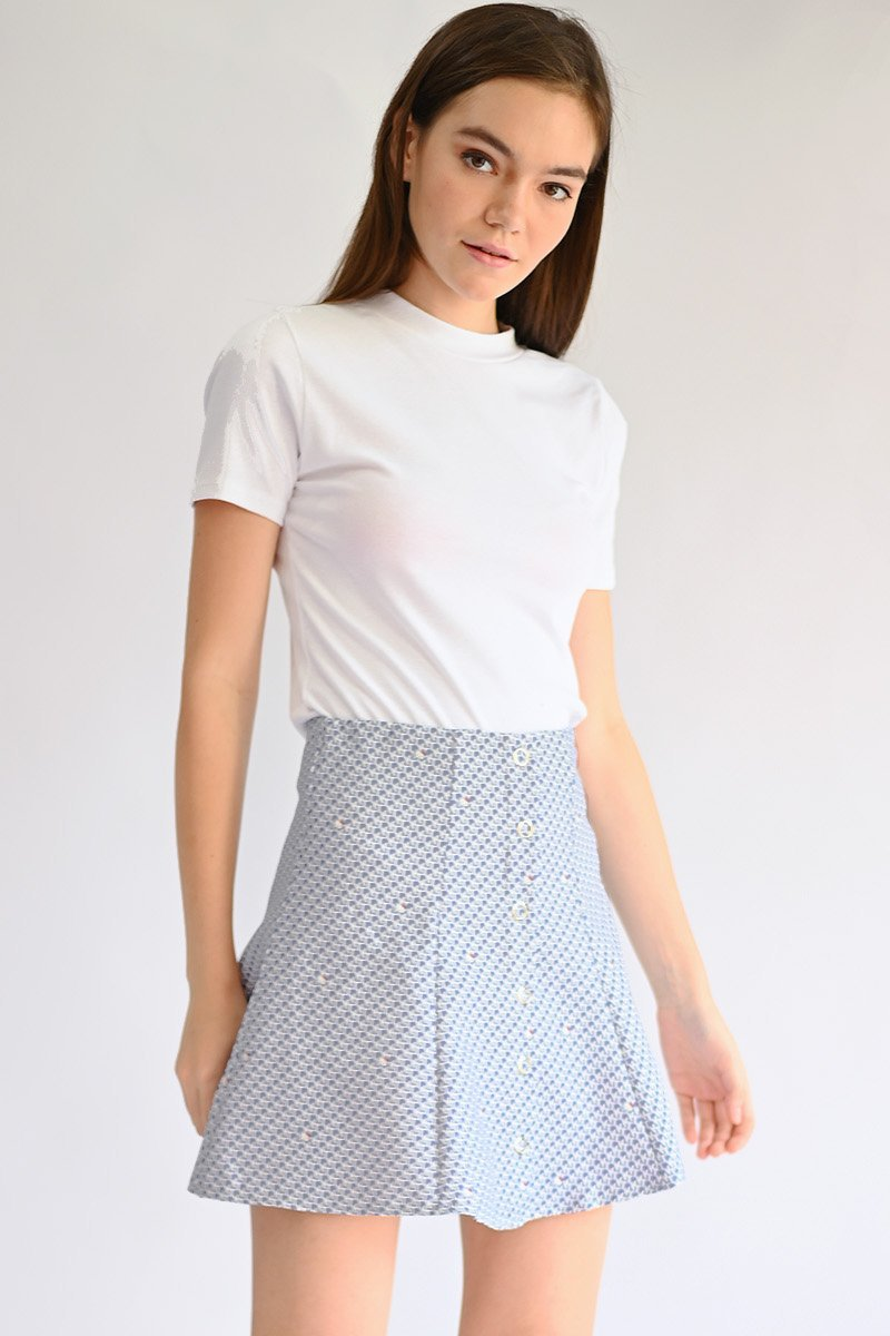 Hello Kitty Eyelet Button Skirt Powder Blue
