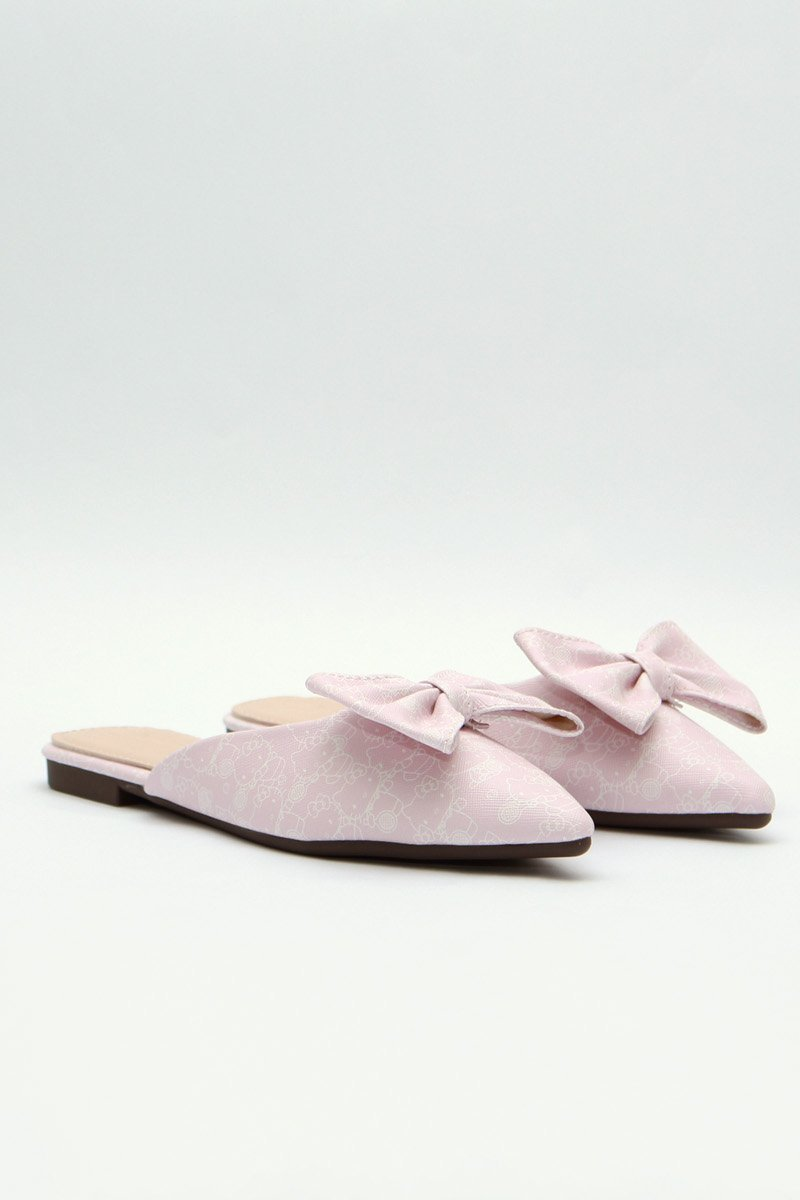 Hello Kitty Bow Slip On Flats Blush