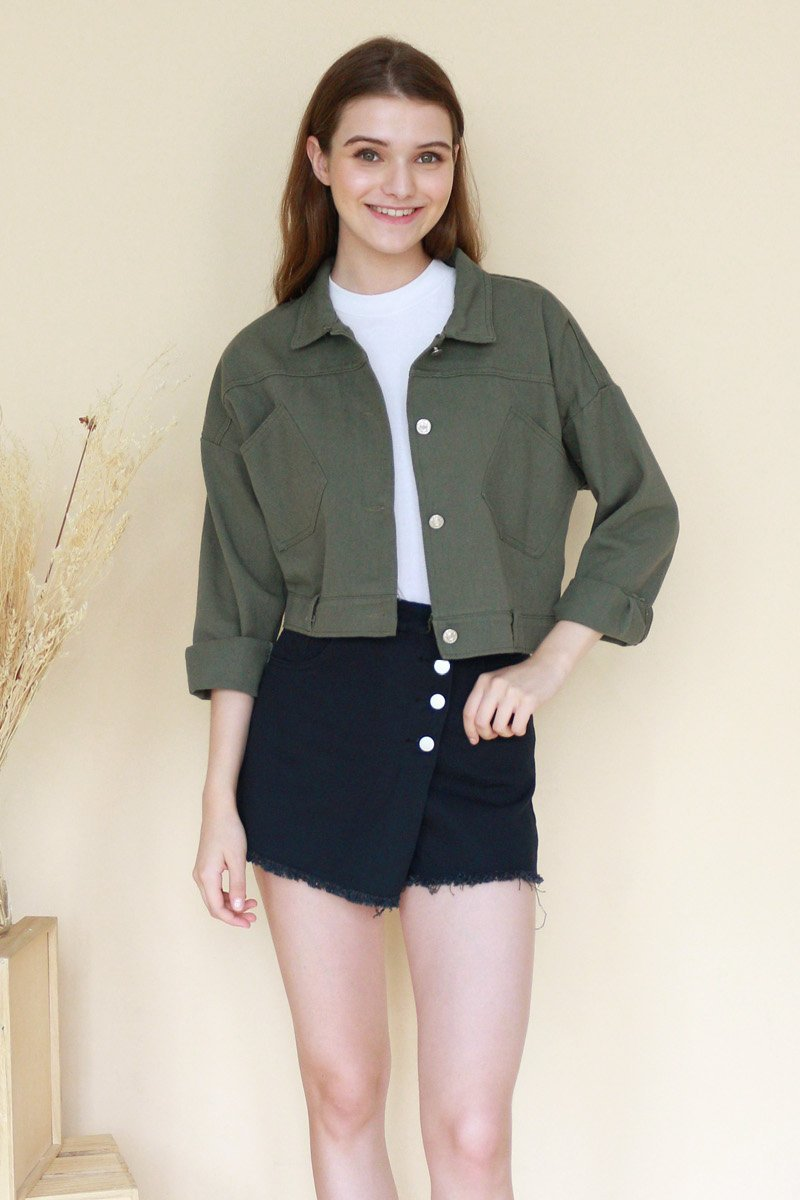 Maikki Button Denim Jacket Olive