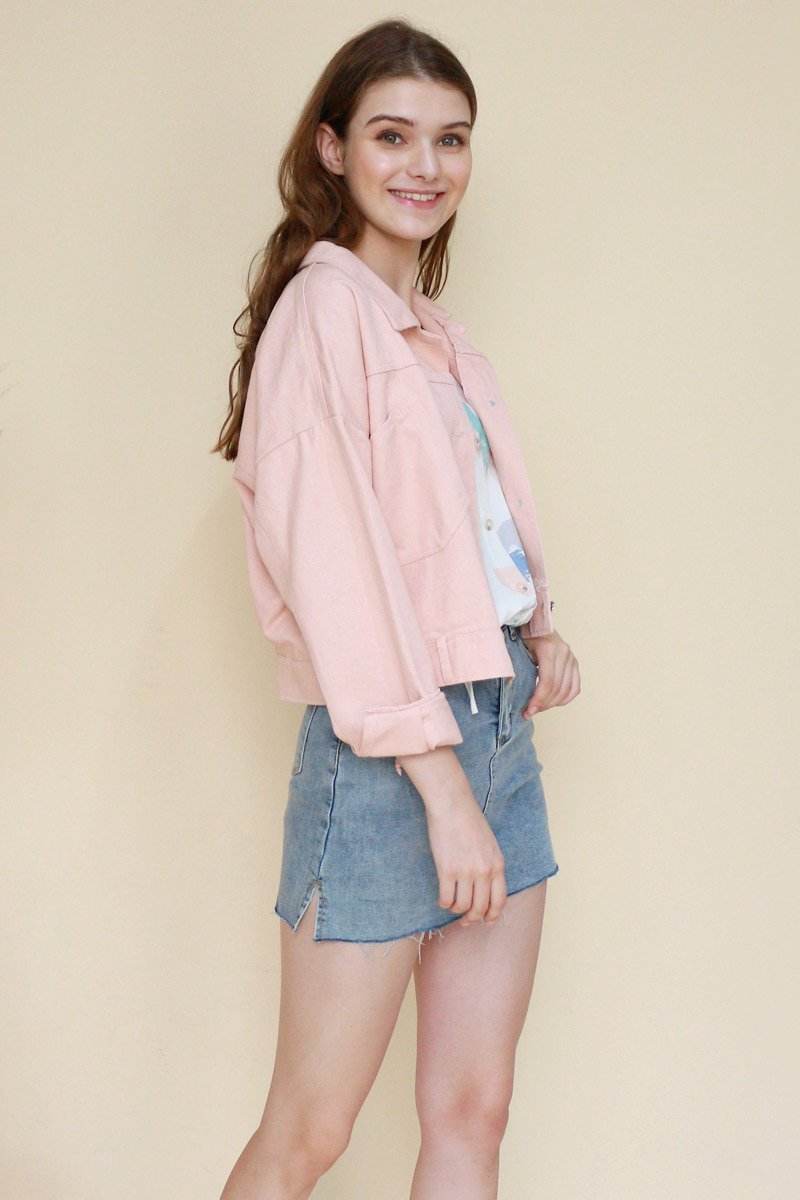 Maikki Button Denim Jacket Blush