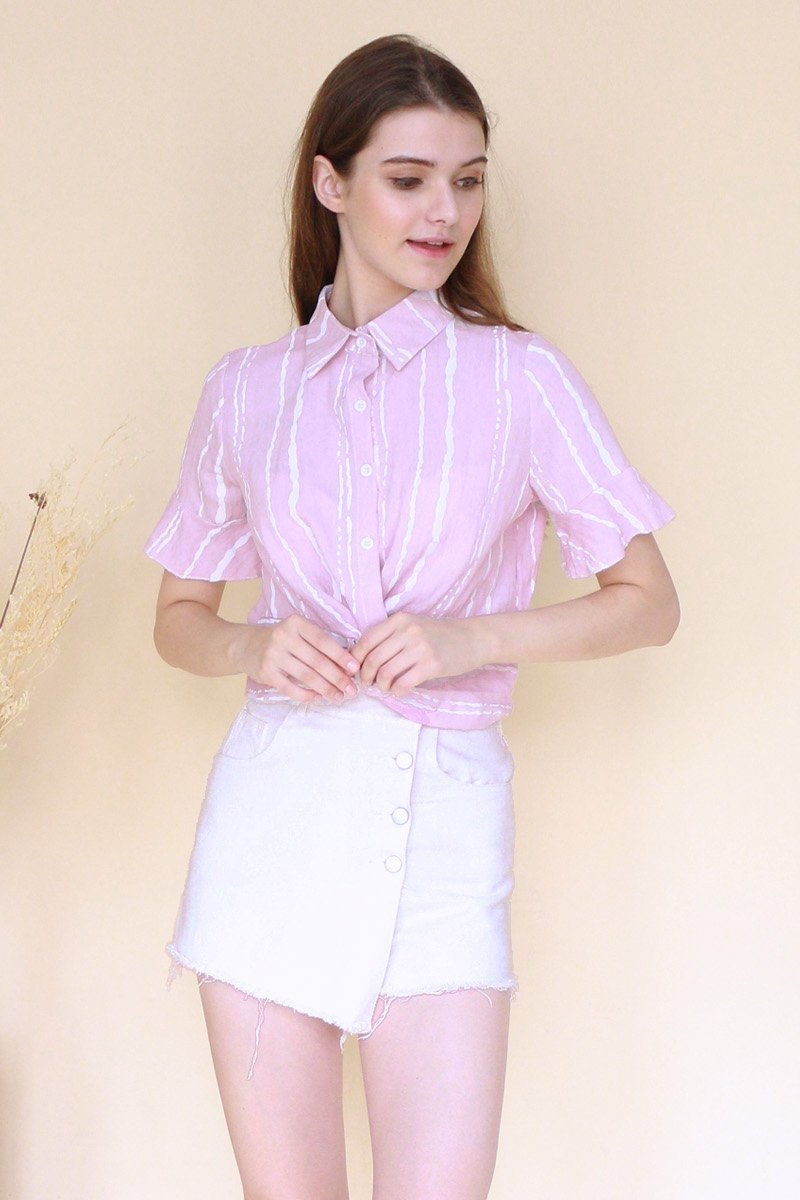 Earla Striped Collared Shirt Blush
