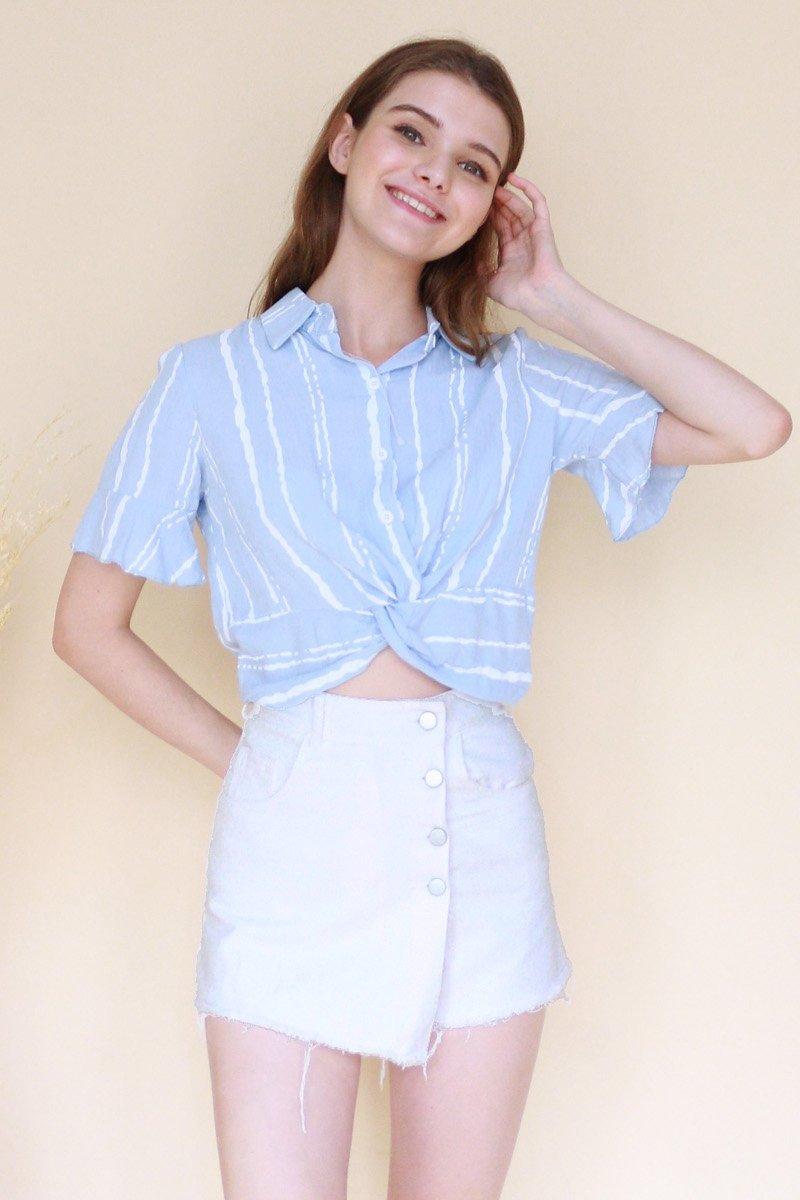 Earla Striped Collared Shirt Powder Blue