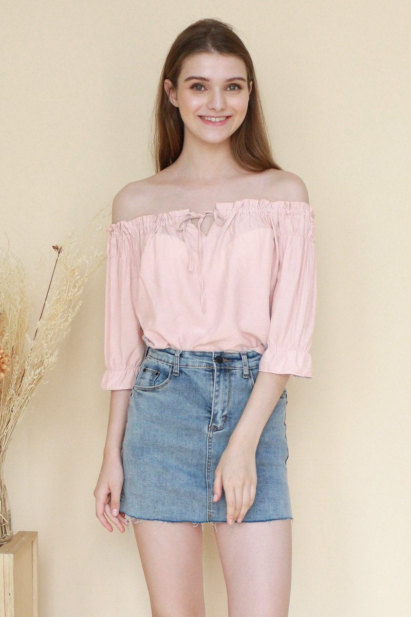 Fuchsia Front Tie Off-Shoulder Top Blush