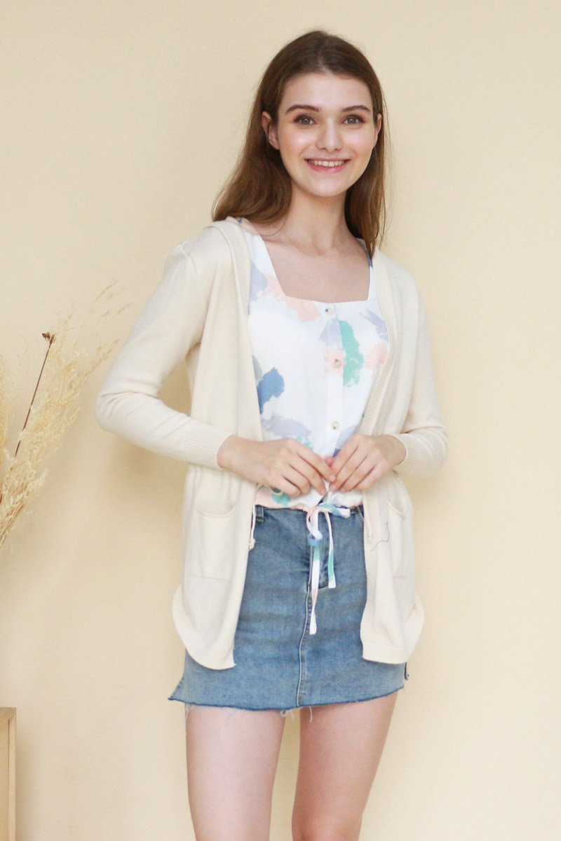 Tirsa Drawstring Knit Cardigan Cream