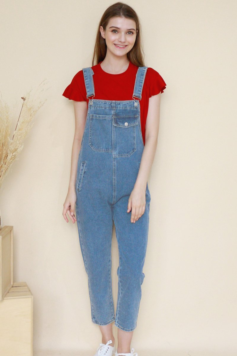 Fia Long Denim Dungaree Lightwashed