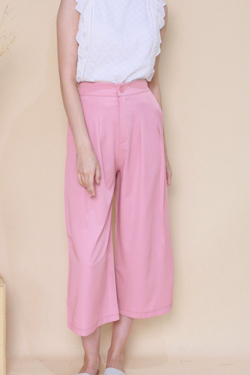 Reverie Wide Leg Pleated Pants Flamingo