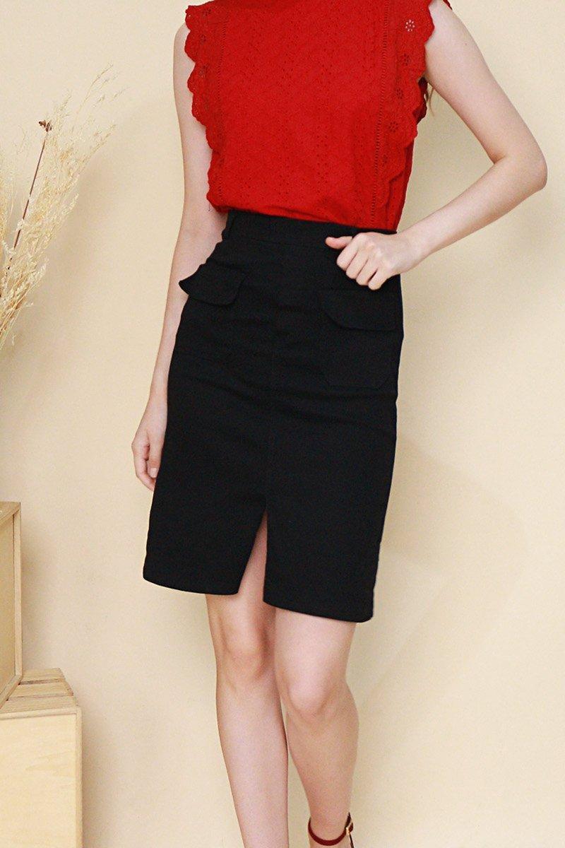 Delphia Front Pocket Midi Skirt Black