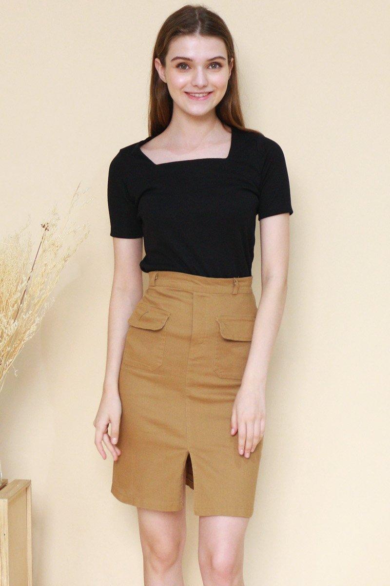 Delphia Front Pocket Midi Skirt Caramel