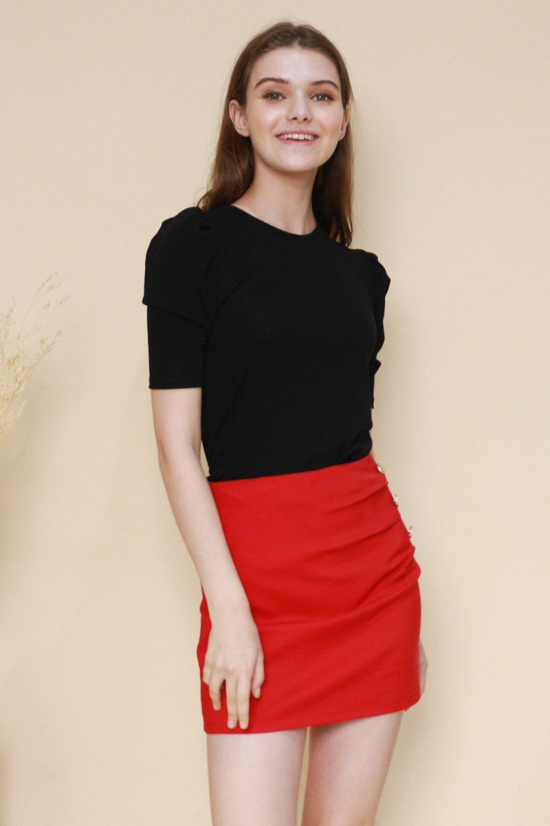 Cicely Puffed Sleeve Top Black