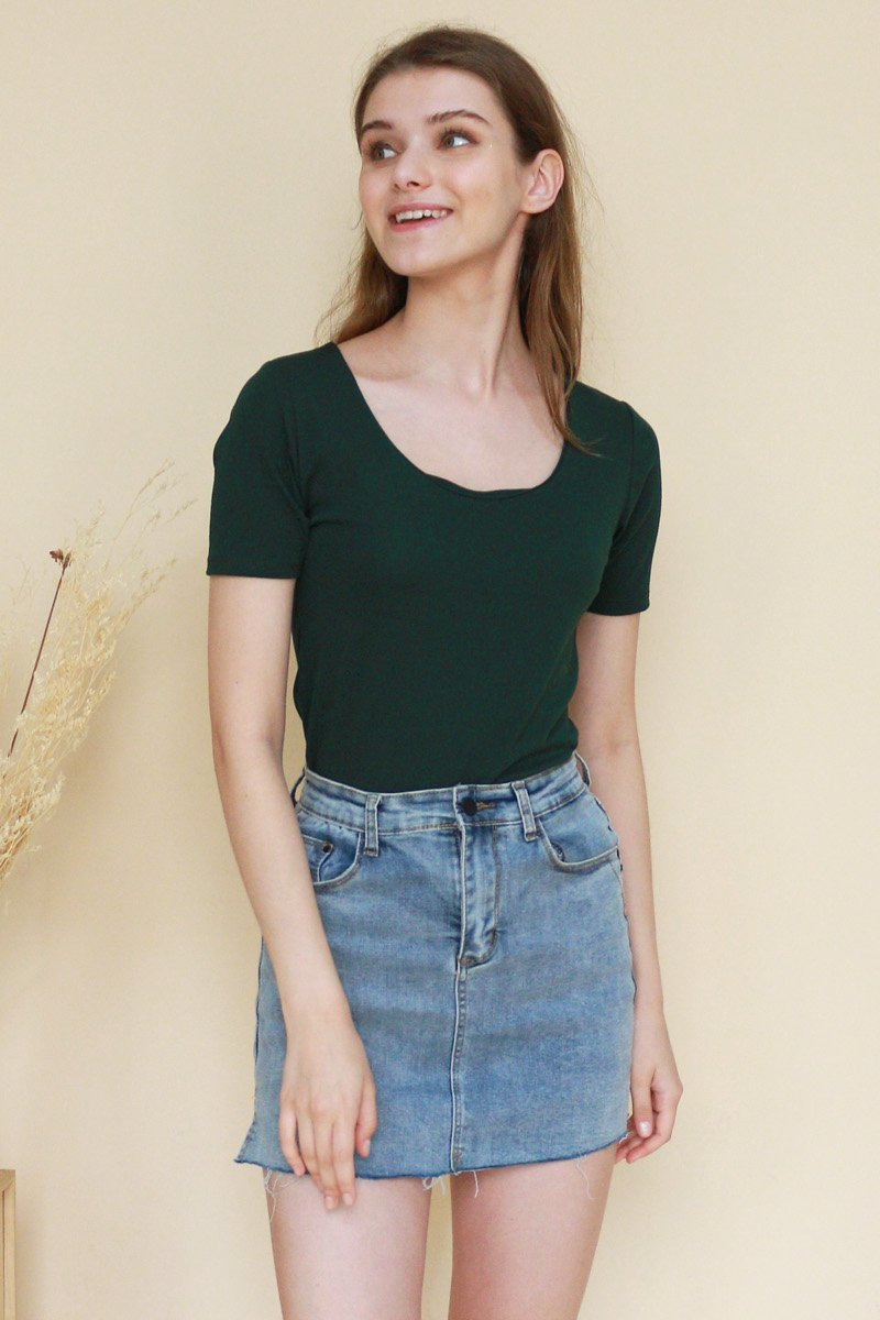 Trina Basic Round-Neck Top Forest