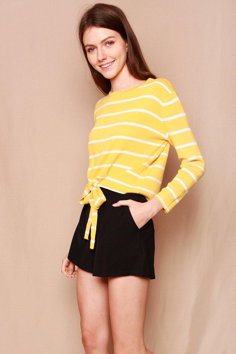 Joseva Knit Front-Tie Top Mustard